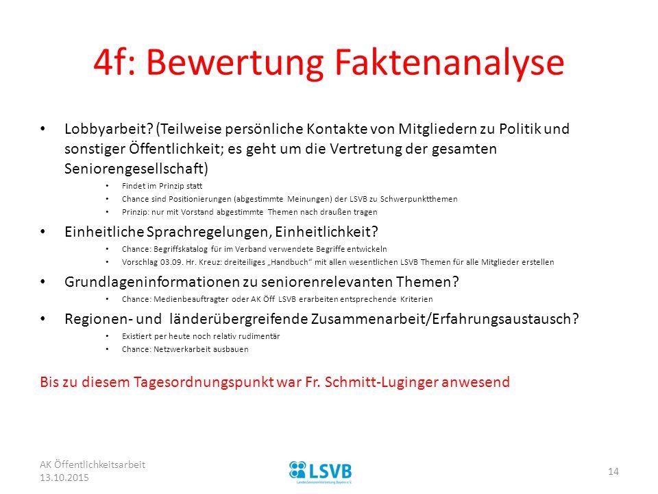 4f: Bewertung Faktenanalyse Lobbyarbeit? (Teilweise persönliche Kontakte von Mitgliedern zu Politik und sonstiger Öffentlichkeit; es geht um die Vertr