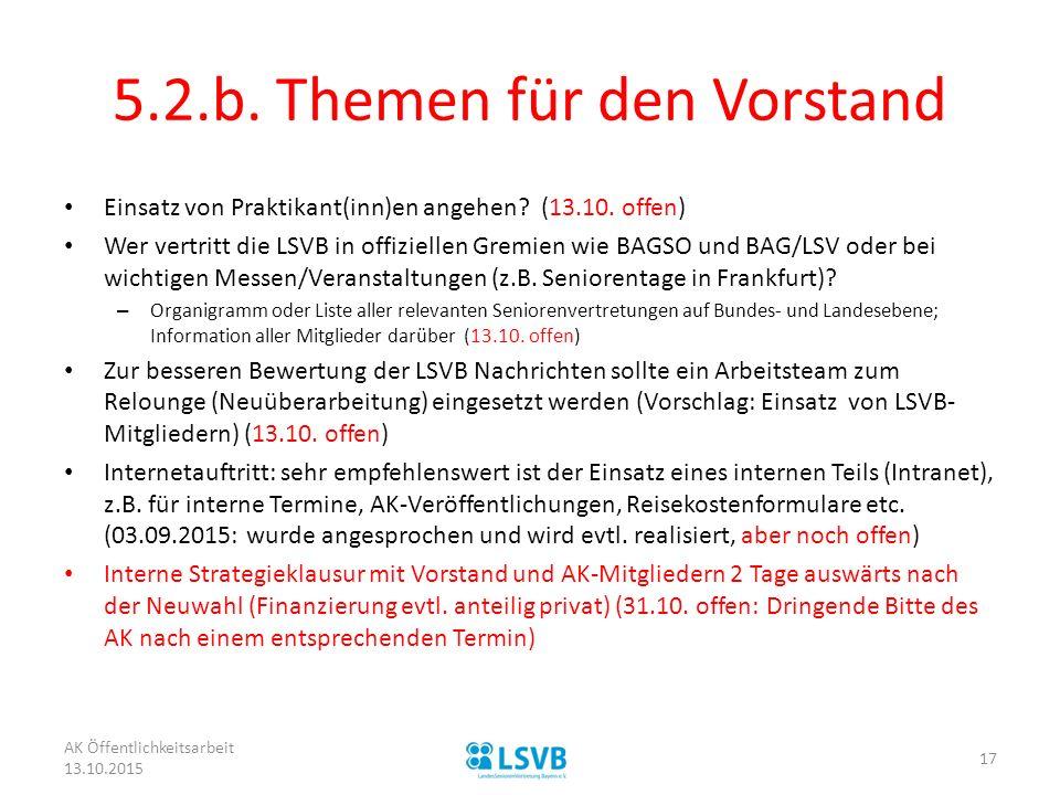 5.2.b. Themen für den Vorstand Einsatz von Praktikant(inn)en angehen? (13.10. offen) Wer vertritt die LSVB in offiziellen Gremien wie BAGSO und BAG/LS