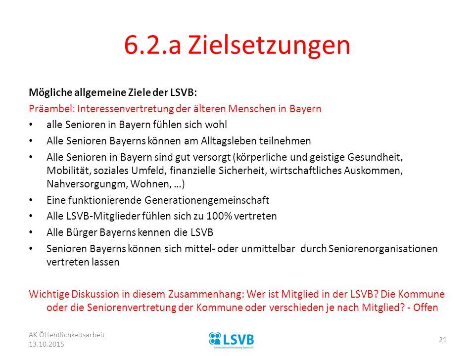 6.2.a Zielsetzungen Mögliche allgemeine Ziele der LSVB: Präambel: Interessenvertretung der älteren Menschen in Bayern alle Senioren in Bayern fühlen s