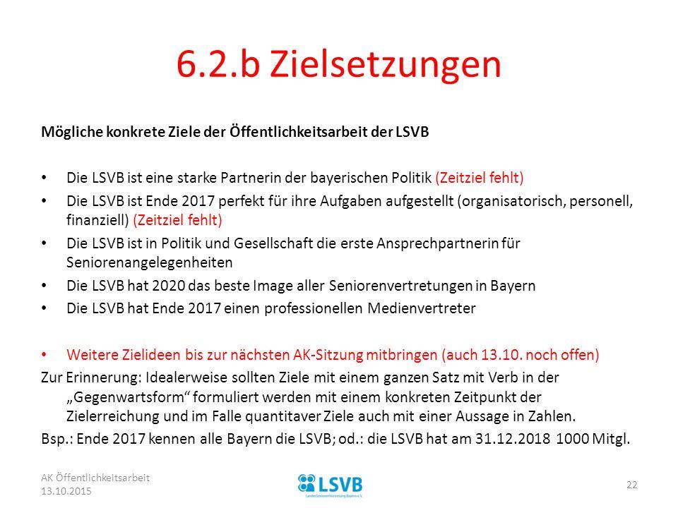 6.2.b Zielsetzungen Mögliche konkrete Ziele der Öffentlichkeitsarbeit der LSVB Die LSVB ist eine starke Partnerin der bayerischen Politik (Zeitziel fe