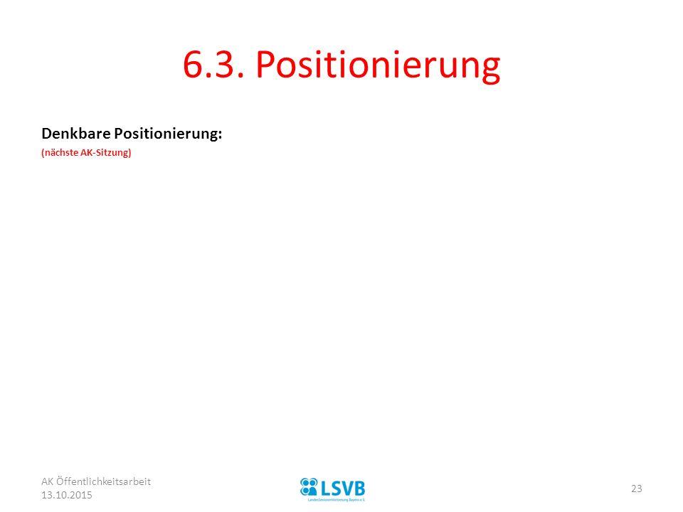 6.3. Positionierung Denkbare Positionierung: (nächste AK-Sitzung) AK Öffentlichkeitsarbeit 13.10.2015 23