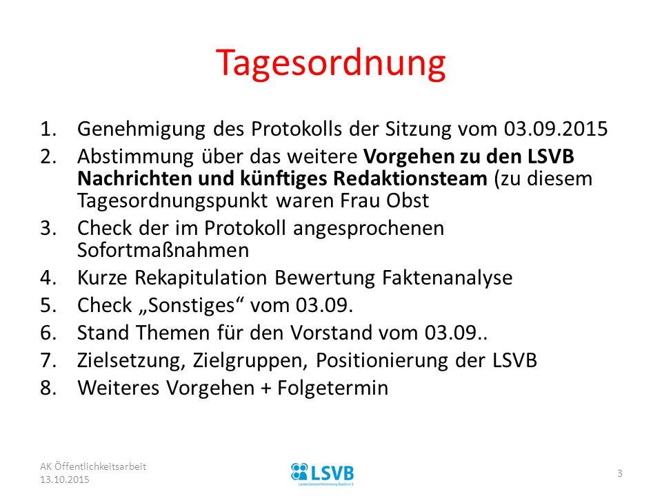 Tagesordnung 1.Genehmigung des Protokolls der Sitzung vom 03.09.2015 2.Abstimmung über das weitere Vorgehen zu den LSVB Nachrichten und künftiges Reda