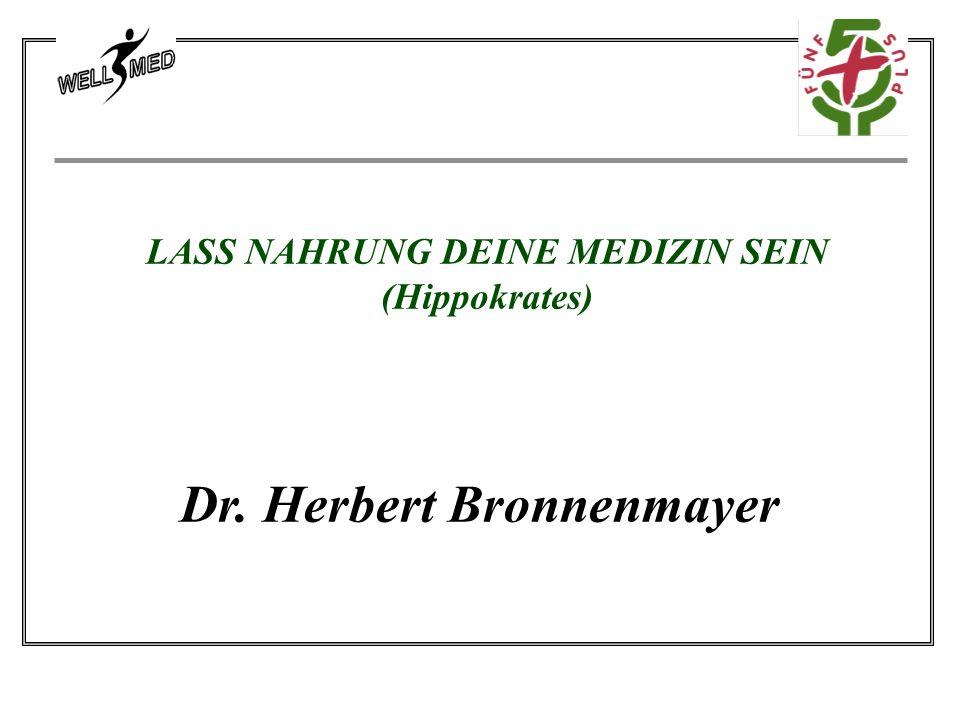 LASS NAHRUNG DEINE MEDIZIN SEIN (Hippokrates) Dr. Herbert Bronnenmayer
