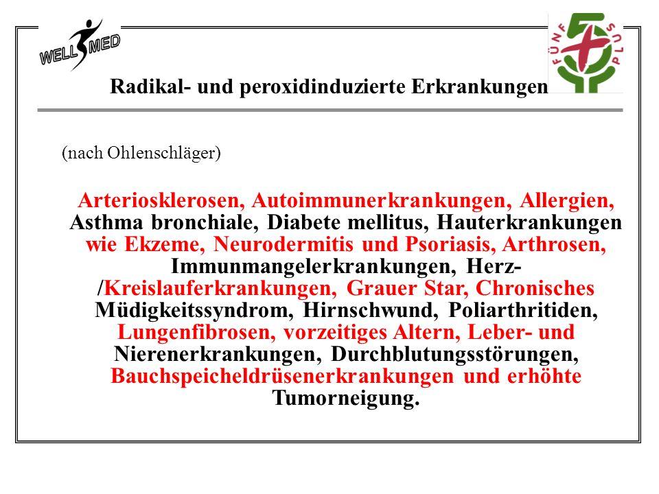 Radikal- und peroxidinduzierte Erkrankungen (nach Ohlenschläger) Arteriosklerosen, Autoimmunerkrankungen, Allergien, Asthma bronchiale, Diabete mellitus, Hauterkrankungen wie Ekzeme, Neurodermitis und Psoriasis, Arthrosen, Immunmangelerkrankungen, Herz- /Kreislauferkrankungen, Grauer Star, Chronisches Müdigkeitssyndrom, Hirnschwund, Poliarthritiden, Lungenfibrosen, vorzeitiges Altern, Leber- und Nierenerkrankungen, Durchblutungsstörungen, Bauchspeicheldrüsenerkrankungen und erhöhte Tumorneigung.