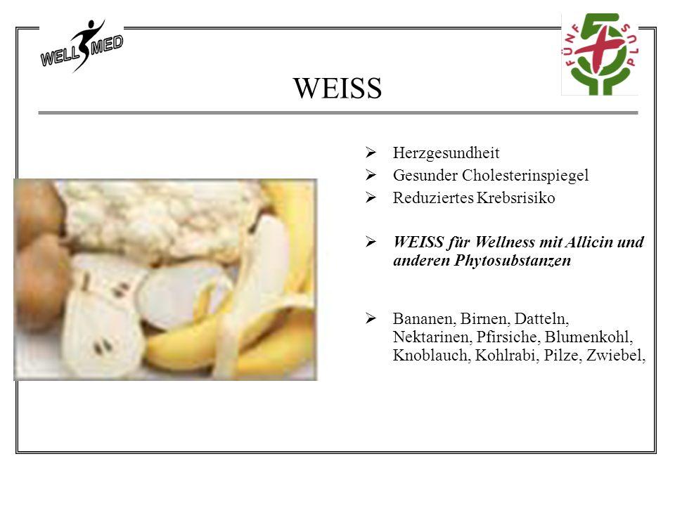 WEISS  Herzgesundheit  Gesunder Cholesterinspiegel  Reduziertes Krebsrisiko  WEISS für Wellness mit Allicin und anderen Phytosubstanzen  Bananen, Birnen, Datteln, Nektarinen, Pfirsiche, Blumenkohl, Knoblauch, Kohlrabi, Pilze, Zwiebel,
