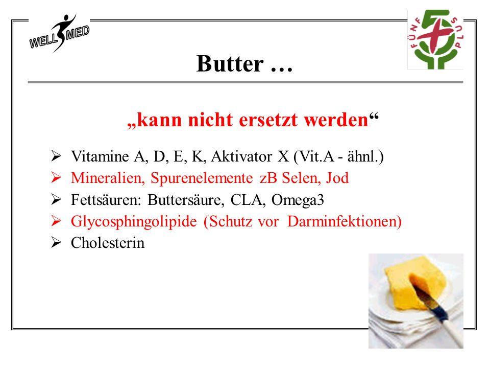 """"""" kann nicht ersetzt werden  Vitamine A, D, E, K, Aktivator X (Vit.A - ähnl.)  Mineralien, Spurenelemente zB Selen, Jod  Fettsäuren: Buttersäure, CLA, Omega3  Glycosphingolipide (Schutz vor Darminfektionen)  Cholesterin Butter …"""
