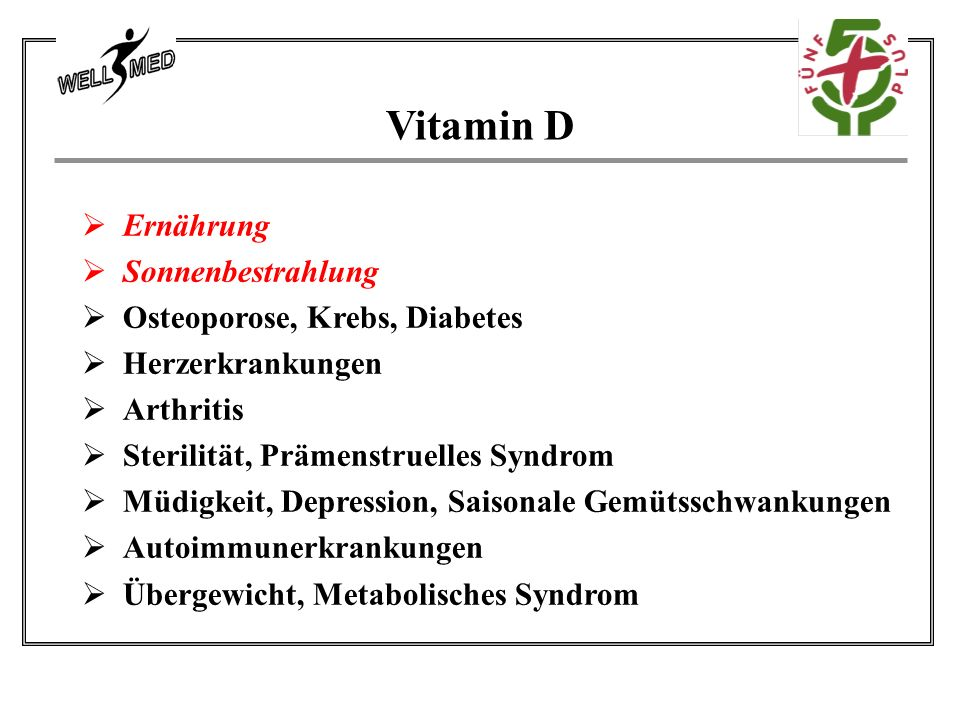 Vitamin D  Ernährung  Sonnenbestrahlung  Osteoporose, Krebs, Diabetes  Herzerkrankungen  Arthritis  Sterilität, Prämenstruelles Syndrom  Müdigkeit, Depression, Saisonale Gemütsschwankungen  Autoimmunerkrankungen  Übergewicht, Metabolisches Syndrom
