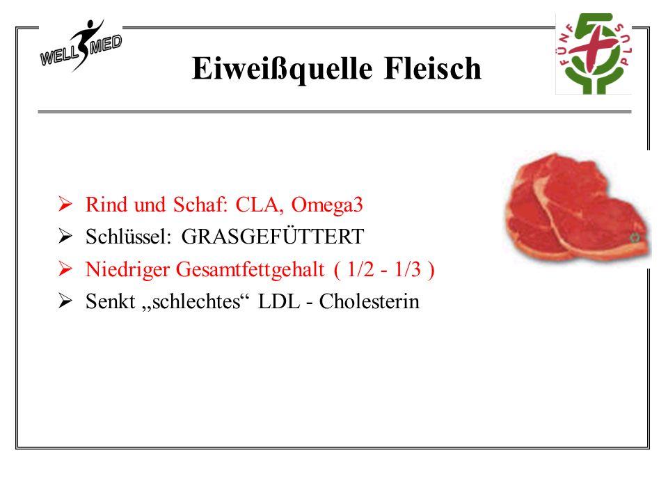 """ Rind und Schaf: CLA, Omega3  Schlüssel: GRASGEFÜTTERT  Niedriger Gesamtfettgehalt ( 1/2 - 1/3 )  Senkt """"schlechtes LDL - Cholesterin Eiweißquelle Fleisch"""