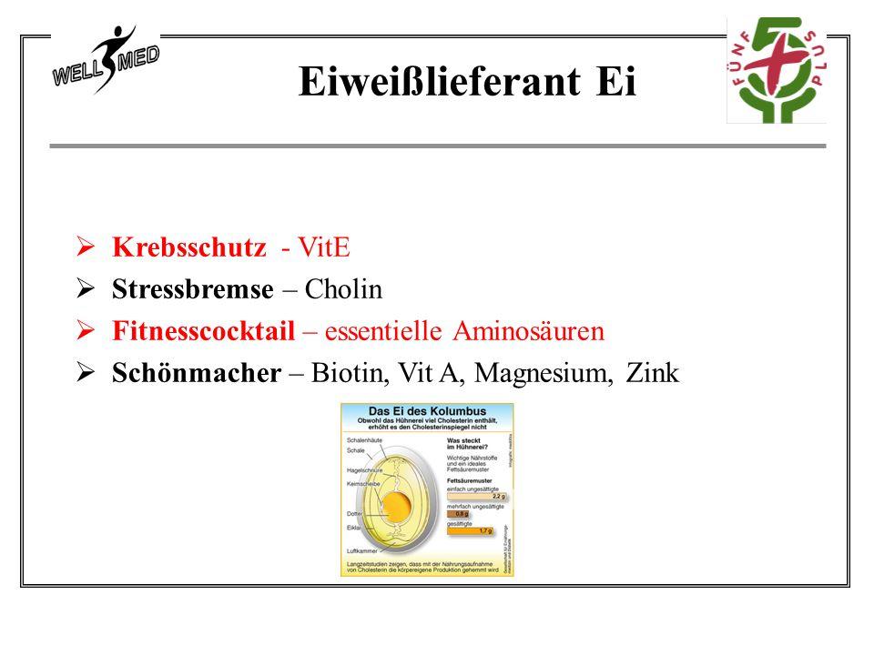  Krebsschutz - VitE  Stressbremse – Cholin  Fitnesscocktail – essentielle Aminosäuren  Schönmacher – Biotin, Vit A, Magnesium, Zink Eiweißlieferant Ei