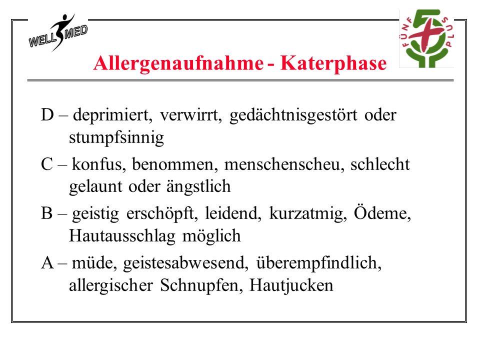 Allergenaufnahme - Katerphase D – deprimiert, verwirrt, gedächtnisgestört oder stumpfsinnig C – konfus, benommen, menschenscheu, schlecht gelaunt oder ängstlich B – geistig erschöpft, leidend, kurzatmig, Ödeme, Hautausschlag möglich A – müde, geistesabwesend, überempfindlich, allergischer Schnupfen, Hautjucken