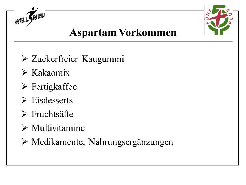 Aspartam Vorkommen  Zuckerfreier Kaugummi  Kakaomix  Fertigkaffee  Eisdesserts  Fruchtsäfte  Multivitamine  Medikamente, Nahrungsergänzungen
