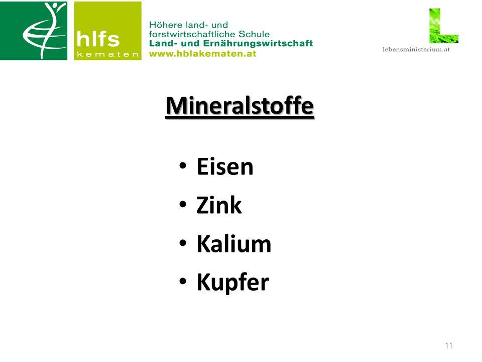 Mineralstoffe Eisen Zink Kalium Kupfer 11