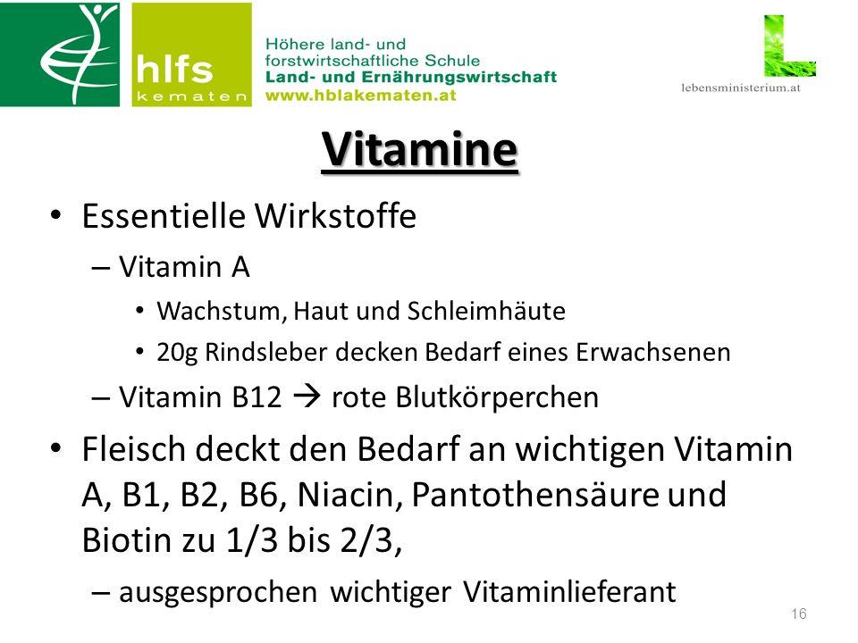 Vitamine Essentielle Wirkstoffe – Vitamin A Wachstum, Haut und Schleimhäute 20g Rindsleber decken Bedarf eines Erwachsenen – Vitamin B12  rote Blutkörperchen Fleisch deckt den Bedarf an wichtigen Vitamin A, B1, B2, B6, Niacin, Pantothensäure und Biotin zu 1/3 bis 2/3, – ausgesprochen wichtiger Vitaminlieferant 16