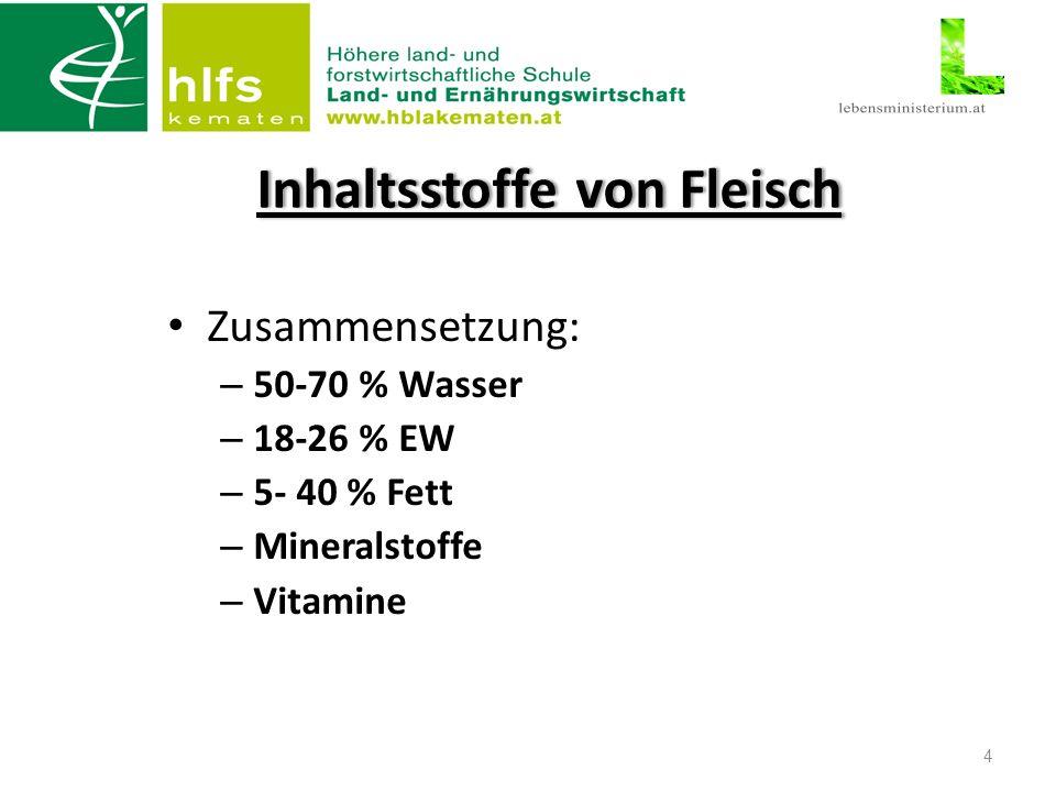 Inhaltsstoffe von FleischInhaltsstoffe von Fleisch Zusammensetzung: – 50-70 % Wasser – 18-26 % EW – 5- 40 % Fett – Mineralstoffe – Vitamine 4