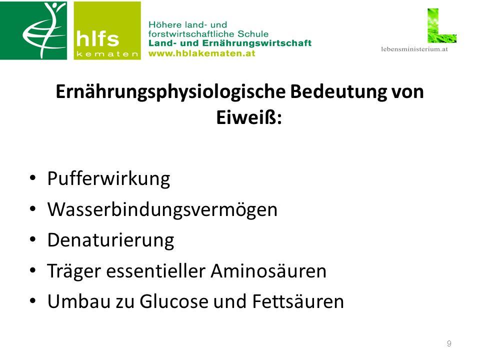 Ernährungsphysiologische Bedeutung von Eiweiß: Pufferwirkung Wasserbindungsvermögen Denaturierung Träger essentieller Aminosäuren Umbau zu Glucose und Fettsäuren 9
