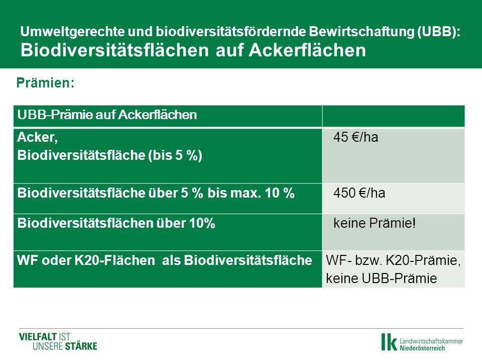 Umweltgerechte und biodiversitätsfördernde Bewirtschaftung (UBB): Biodiversitätsflächen auf Ackerflächen Prämien: UBB-Prämie auf Ackerflächen Acker, B