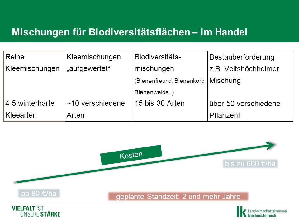 """Mischungen für Biodiversitätsflächen – im Handel Reine Kleemischungen 4-5 winterharte Kleearten Kleemischungen """"aufgewertet"""" ~10 verschiedene Arten Be"""