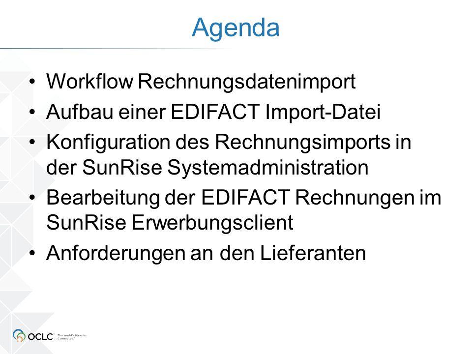 Workflow Rechnungsdatenimport Lieferant X Bereitstellung Rechnungs- Datei im EDItEUR-Format Abholung per ftp oder cron gemäß SunRise-Admin – Rechnungsbereitstellungs- konfiguration Umwandlung per Perlskript in internes XML-Format gemäß SunRise-Admin: Rechnungstypen Abspeichern des internen XML-Formates, der Rohdaten und der Protokollierung der Transformation in acq_vardata EC: Aufruf des regulären Inventarisierungsdialoges mit erweiterter Listbox Elektr.