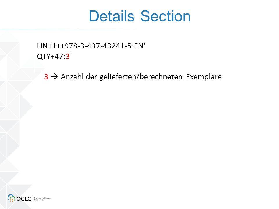 Details Section LIN+1++978-3-437-43241-5:EN QTY+47:3 3  Anzahl der gelieferten/berechneten Exemplare