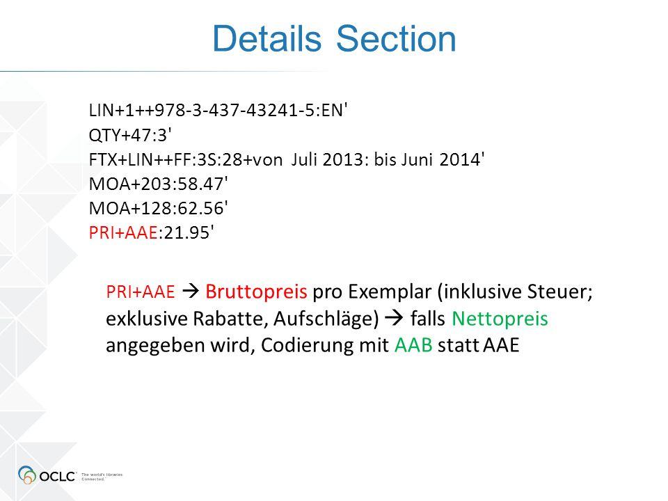 Details Section LIN+1++978-3-437-43241-5:EN' QTY+47:3' FTX+LIN++FF:3S:28+von Juli 2013: bis Juni 2014' MOA+203:58.47' MOA+128:62.56' PRI+AAE:21.95' PR