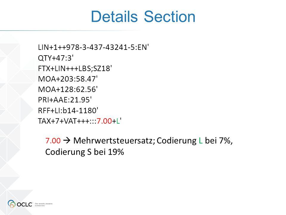 Details Section LIN+1++978-3-437-43241-5:EN' QTY+47:3' FTX+LIN+++LBS;SZ18' MOA+203:58.47' MOA+128:62.56' PRI+AAE:21.95' RFF+LI:b14-1180' TAX+7+VAT+++: