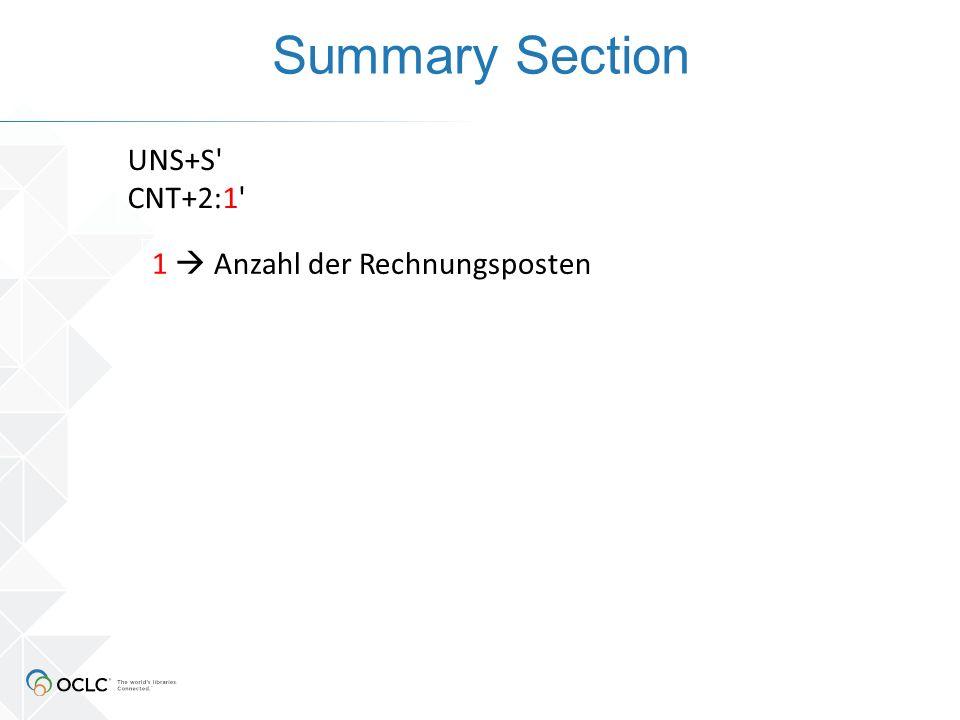 Summary Section UNS+S CNT+2:1 1  Anzahl der Rechnungsposten