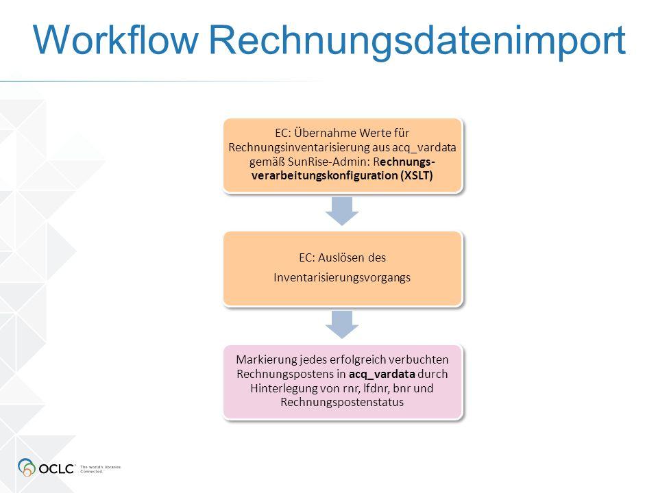 Workflow Rechnungsdatenimport EC: Übernahme Werte für Rechnungsinventarisierung aus acq_vardata gemäß SunRise-Admin: Rechnungs- verarbeitungskonfiguration (XSLT) EC: Auslösen des Inventarisierungsvorgangs Markierung jedes erfolgreich verbuchten Rechnungspostens in acq_vardata durch Hinterlegung von rnr, lfdnr, bnr und Rechnungspostenstatus