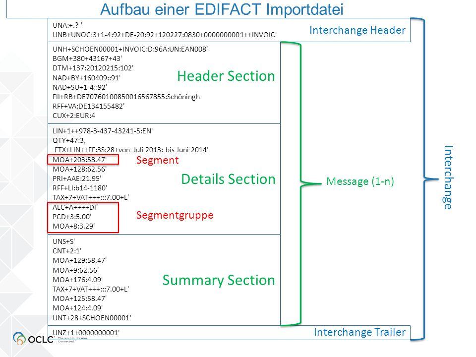 Details Section LIN+1++978-3-437-43241-5:EN QTY+47:3 FTX+LIN++FF:3S:28+von Juli 2013: bis Juni 2014 MOA+203:58.47 MOA+128:62.56 PRI+AAE:21.95 PRI+AAE  Bruttopreis pro Exemplar (inklusive Steuer; exklusive Rabatte, Aufschläge)  falls Nettopreis angegeben wird, Codierung mit AAB statt AAE