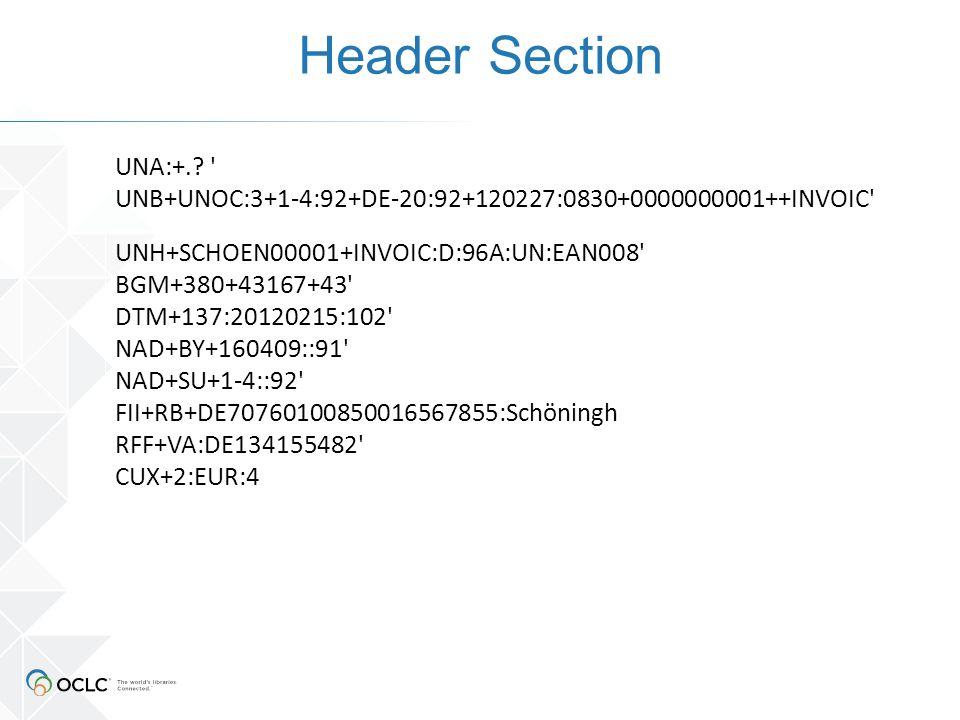 Details Section Besteht aus einer Gruppe von 22 Segmenten, die zusammen einen Rechnungsposten beschreiben Enthält Details zum Rechnungsposten wie Bestellnummer, Anzahl der Exemplare, EAN Nummern wie z.B.