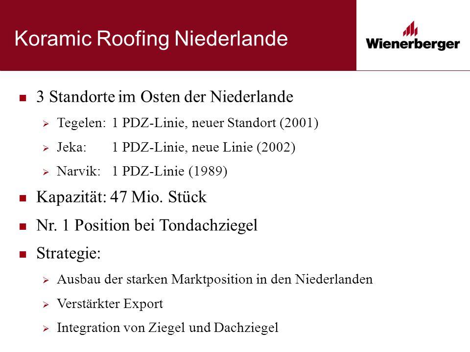 Koramic Roofing Niederlande 3 Standorte im Osten der Niederlande  Tegelen: 1 PDZ-Linie, neuer Standort (2001)  Jeka: 1 PDZ-Linie, neue Linie (2002)  Narvik: 1 PDZ-Linie (1989) Kapazität: 47 Mio.