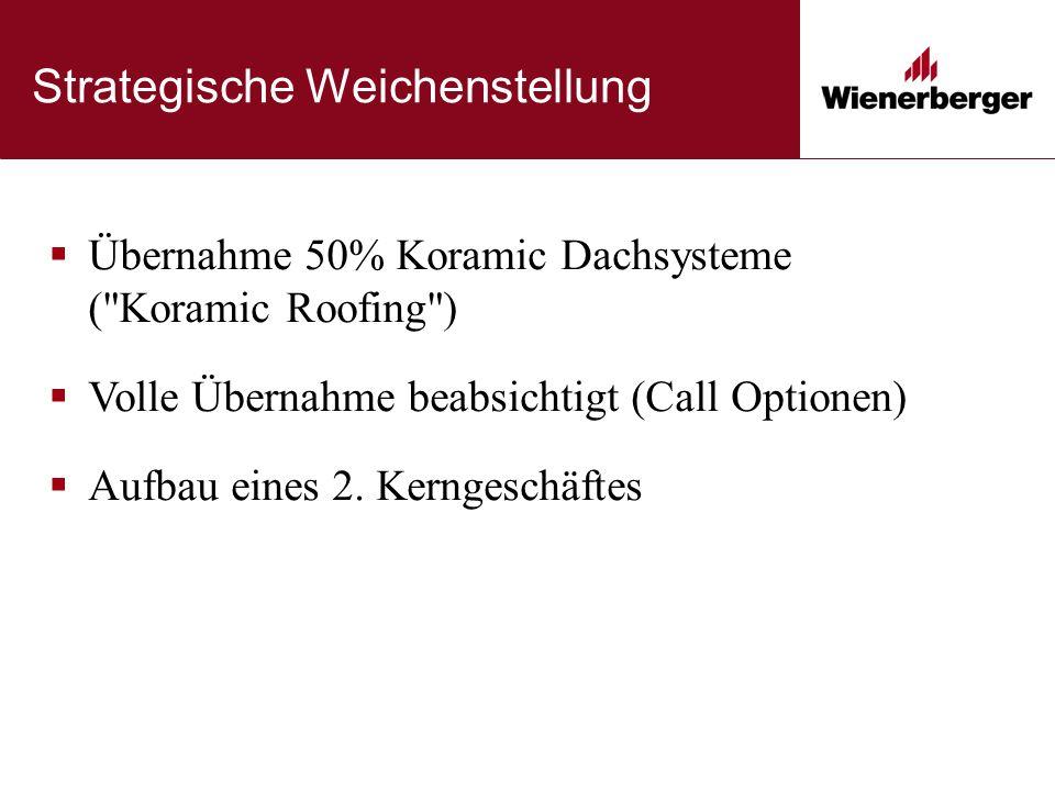 Strategische Weichenstellung  Übernahme 50% Koramic Dachsysteme ( Koramic Roofing )  Volle Übernahme beabsichtigt (Call Optionen)  Aufbau eines 2.
