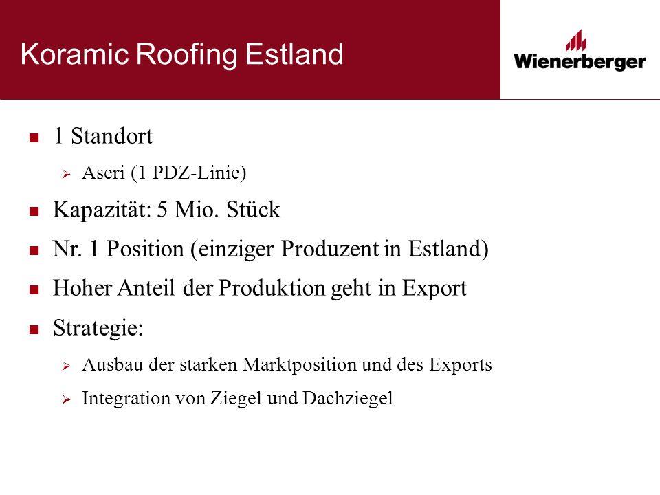 Koramic Roofing Estland 1 Standort  Aseri (1 PDZ-Linie) Kapazität: 5 Mio.