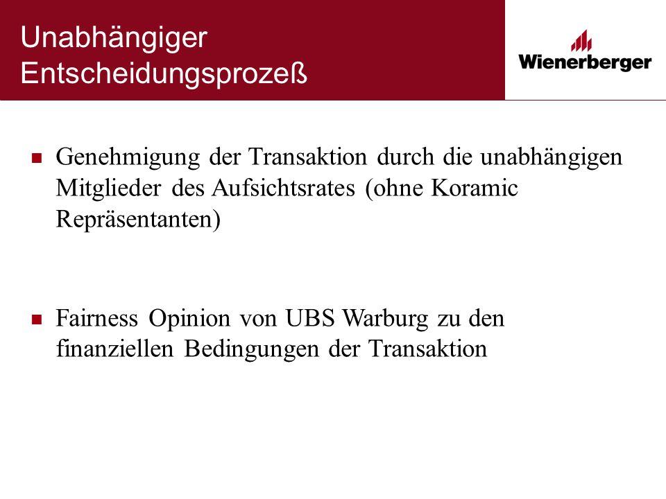 Unabhängiger Entscheidungsprozeß Genehmigung der Transaktion durch die unabhängigen Mitglieder des Aufsichtsrates (ohne Koramic Repräsentanten) Fairness Opinion von UBS Warburg zu den finanziellen Bedingungen der Transaktion