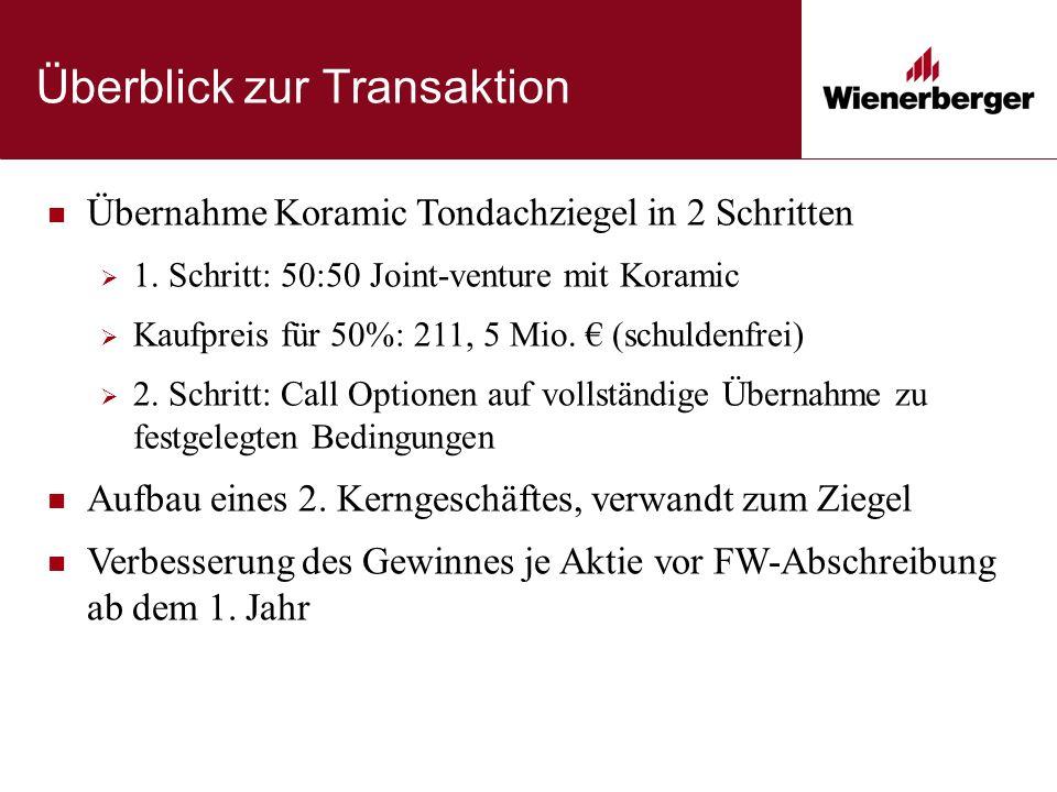 Überblick zur Transaktion Übernahme Koramic Tondachziegel in 2 Schritten  1.