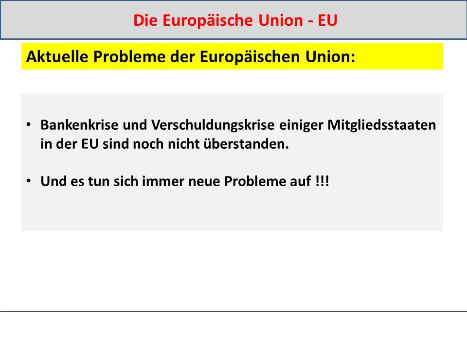Bankenkrise und Verschuldungskrise einiger Mitgliedsstaaten in der EU sind noch nicht überstanden.