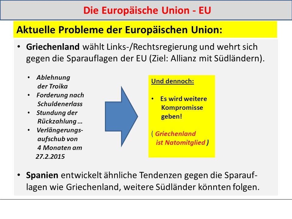 Griechenland wählt Links-/Rechtsregierung und wehrt sich gegen die Sparauflagen der EU (Ziel: Allianz mit Südländern).