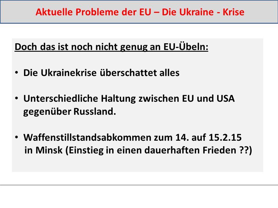 Doch das ist noch nicht genug an EU-Übeln: Die Ukrainekrise überschattet alles Unterschiedliche Haltung zwischen EU und USA gegenüber Russland.
