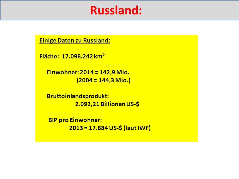 Russland: Einige Daten zu Russland: Fläche: 17.098.242 km² Einwohner: 2014 = 142,9 Mio.