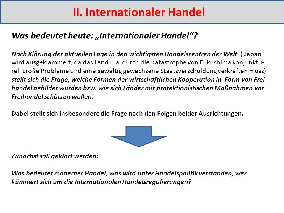 "II. Internationaler Handel Was bedeutet heute: ""Internationaler Handel ."