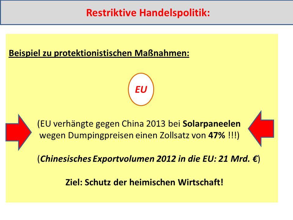 Beispiel zu protektionistischen Maßnahmen: (EU verhängte gegen China 2013 bei Solarpaneelen wegen Dumpingpreisen einen Zollsatz von 47% !!!) (Chinesisches Exportvolumen 2012 in die EU: 21 Mrd.