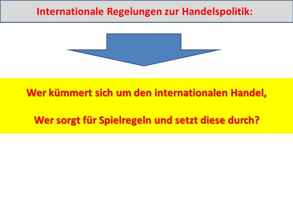 Wer kümmert sich um den internationalen Handel, Wer sorgt für Spielregeln und setzt diese durch.