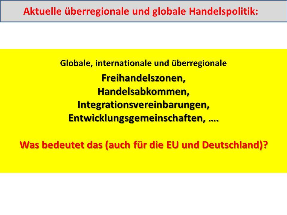 Freihandelszonen,Handelsabkommen,Integrationsvereinbarungen, Entwicklungsgemeinschaften, ….