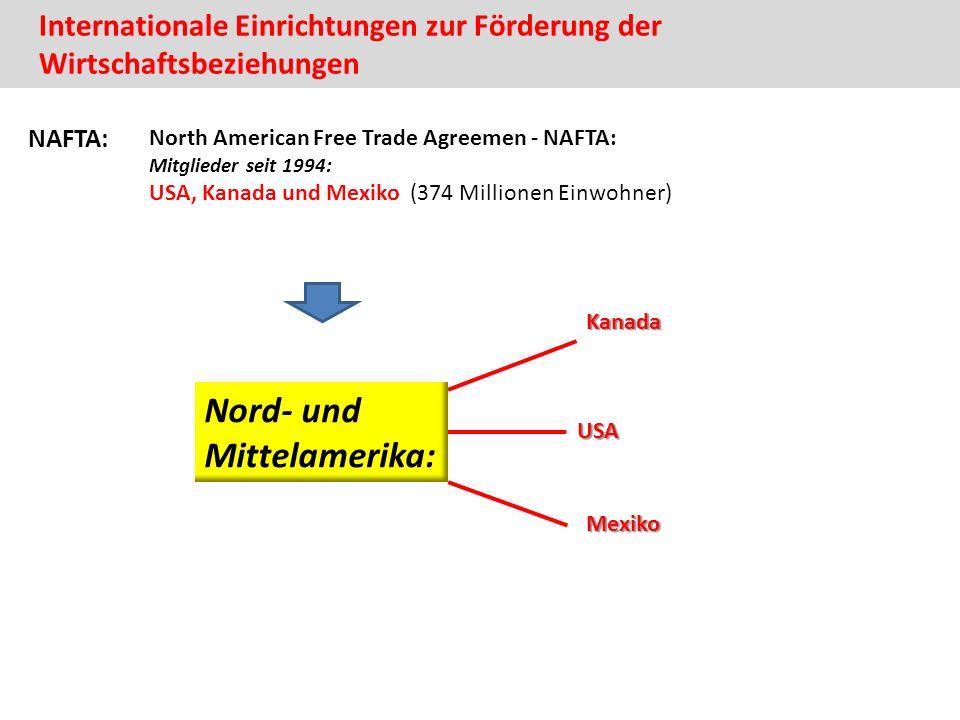 Internationale Einrichtungen zur Förderung der WirtschaftsbeziehungenUSA Kanada Mexiko Nord- und Mittelamerika: NAFTA: North American Free Trade Agreemen - NAFTA: Mitglieder seit 1994: USA, Kanada und Mexiko (374 Millionen Einwohner)