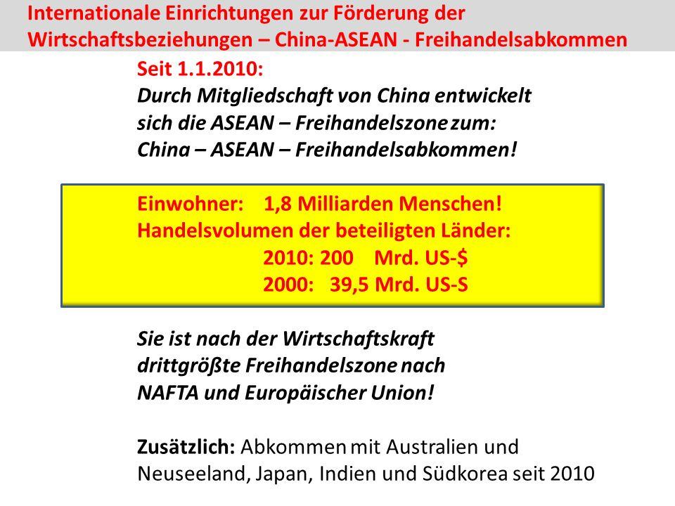 Internationale Einrichtungen zur Förderung der Wirtschaftsbeziehungen – China-ASEAN - Freihandelsabkommen Seit 1.1.2010: Durch Mitgliedschaft von China entwickelt sich die ASEAN – Freihandelszone zum: China – ASEAN – Freihandelsabkommen.