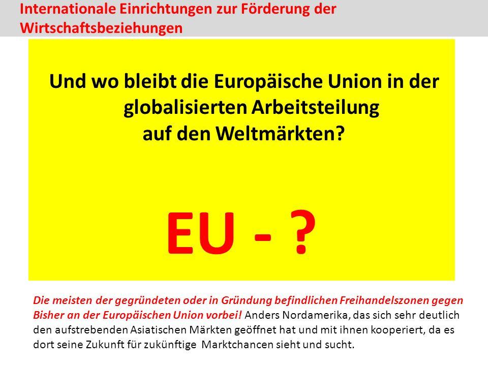 Internationale Einrichtungen zur Förderung der Wirtschaftsbeziehungen Und wo bleibt die Europäische Union in der globalisierten Arbeitsteilung auf den Weltmärkten.