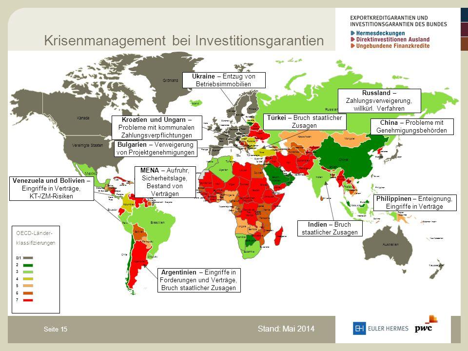 Seite 15 Krisenmanagement bei Investitionsgarantien OECD-Länder- klassifizierungen 0/1 2 3 4 5 6 7 Kanada Vereinigte Staaten Grönland Island Mexiko Ku