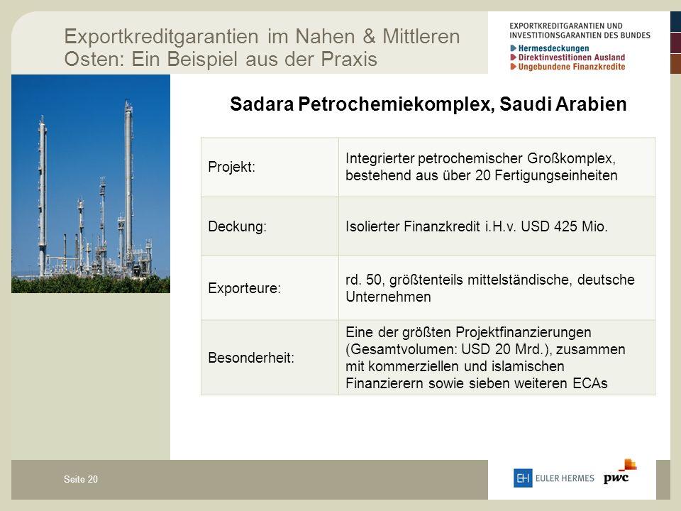 Seite 20 Exportkreditgarantien im Nahen & Mittleren Osten: Ein Beispiel aus der Praxis Sadara Petrochemiekomplex, Saudi Arabien Projekt: Integrierter