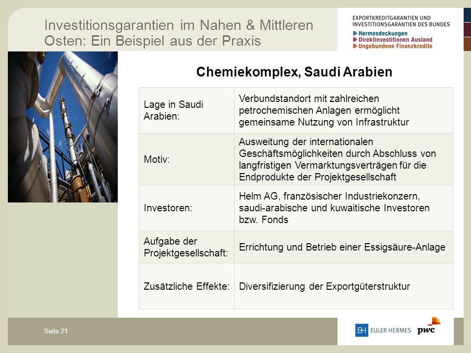 Seite 21 Investitionsgarantien im Nahen & Mittleren Osten: Ein Beispiel aus der Praxis Chemiekomplex, Saudi Arabien Lage in Saudi Arabien: Verbundstan
