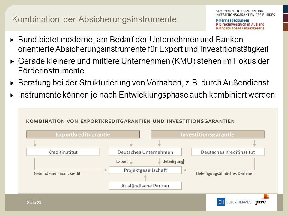 Seite 23 Kombination der Absicherungsinstrumente  Bund bietet moderne, am Bedarf der Unternehmen und Banken orientierte Absicherungsinstrumente für Export und Investitionstätigkeit  Gerade kleinere und mittlere Unternehmen (KMU) stehen im Fokus der Förderinstrumente  Beratung bei der Strukturierung von Vorhaben, z.B.