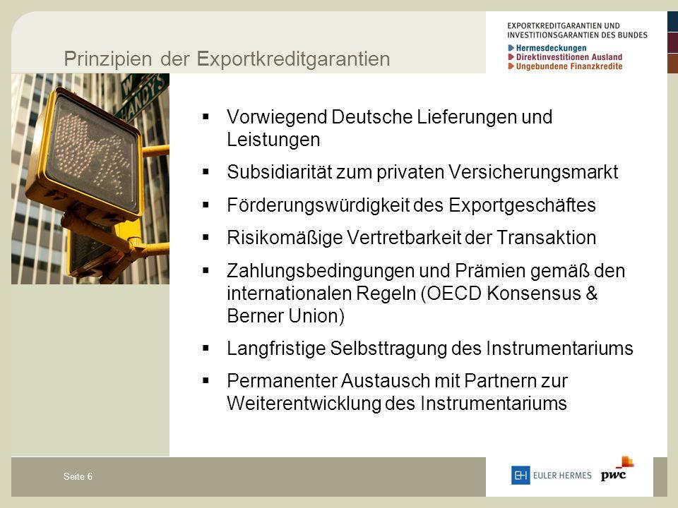 Seite 6 Prinzipien der Exportkreditgarantien  Vorwiegend Deutsche Lieferungen und Leistungen  Subsidiarität zum privaten Versicherungsmarkt  Förderungswürdigkeit des Exportgeschäftes  Risikomäßige Vertretbarkeit der Transaktion  Zahlungsbedingungen und Prämien gemäß den internationalen Regeln (OECD Konsensus & Berner Union)  Langfristige Selbsttragung des Instrumentariums  Permanenter Austausch mit Partnern zur Weiterentwicklung des Instrumentariums